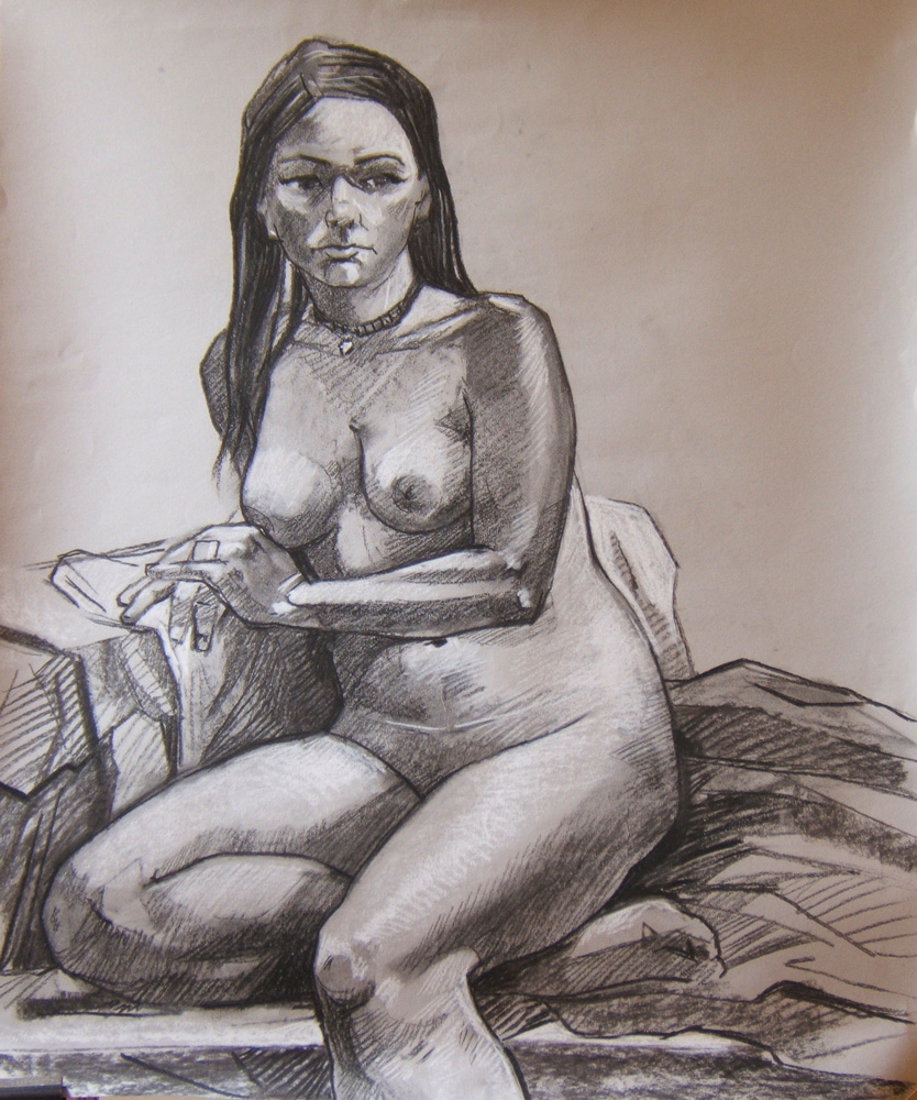 Some life drawing from the RHA. Charcoal and pastel on toned paper- 3 hour sitting.